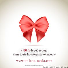 """Bénéficiez d'une réduction de 30% sur tous les articles de la catégorie vêtements dans la boutique www.milena-moda.com  Au récapitulatif de votre commande, il vous suffit de taper """"vêtements"""" dans l'encart """"Code promo"""" et de cliquer sur """"OK"""" pour bénéficier de la promotion. Offre valable du 21.10.2015 au 31.10.2015.   Livraison gratuite dès 29€.  #bonplan #promo #promotion #reduction #shopping #cadeau #boutique #vêtements #bijoux #milenamoda"""