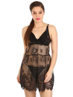 eb5c5c0d3a3 Shyle Black Floral Lace Babydoll With G-String Panty