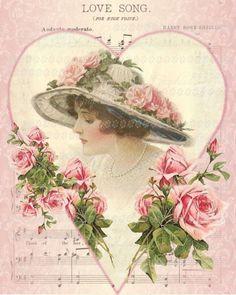 Victorian Altered Page Vintage Printable, Vintage Labels, Vintage Ephemera, Vintage Postcards, Vintage Music, Vintage Love, Vintage Prints, Valentines For Singles, Vintage Valentines