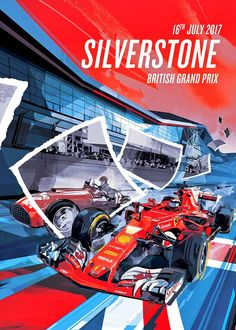 Ferrari poster van Grand Prix in Engeland Nascar, Formula 1, Auto F1, X Games, Red Bull, Monaco, Stock Car, Corso, Gp F1