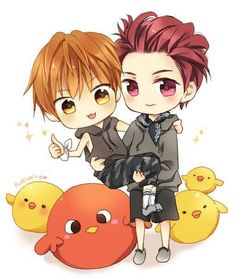 Sooooo cute Xiumin & Luhan fan art:)