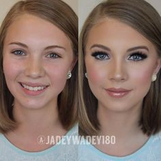 Makeup transformation for a pageant. Crazy difference make up can make.