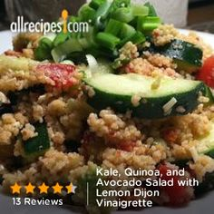 Kale, Quinoa, and Avocado Salad with Lemon Dijon Vinaigrette from Allrecipes.com #myplate #veggies #protein