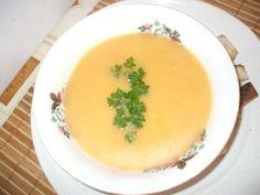 Supa-crema de legume ( de post ) cu crutoane picante - imagine 1 mare Cantaloupe, Soup, Vegan, Fruit, Ethnic Recipes, Cream, Fine Dining, Soups, Vegans