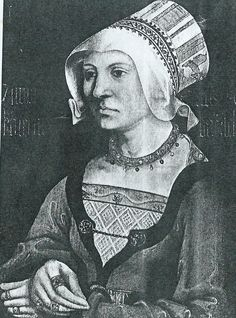 portrait of the terminally glum-looking Katharina Barsch by a ?Swabian painter, dated 1517 -- present whereabouts unknown -- but rather more interesting thing on the back -- see previous