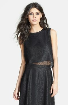 Tildon Crochet Overlay Crop Top available at #Nordstrom