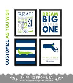 Nautical boy birth announcement nautical birth stats print gator baby decor aligator nursery dream big new baby announcement personalized baby gifts wall decor baby boy birth stats new baby prints negle Image collections