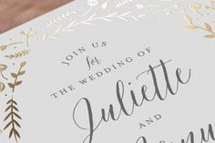"""""""Garden Romance"""" - Customizable Foil-pressed Wedding Invitations in Gold by carly reed walker. Foil Stamped Wedding Invitations, Garden Wedding Invitations, Wedding Programs, Bridal Shower Invitations, Wedding Stationery, Save The Date Postcards, Save The Date Cards, Flower Invitation, Invitation Design"""