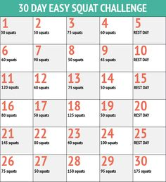 30 Day Easy Squat Fitness Challenge Chart
