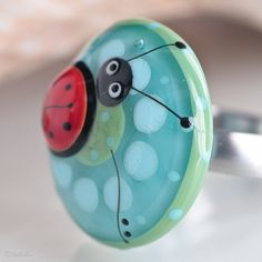 Funky Colorstorm Ladybug  Ring Topper Lampwork Bead by Glassbonbon, $69.00
