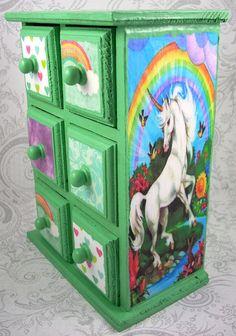 Green Unicorns and Rainbows Stash Jewelry Box by pzcreations22, $23.50