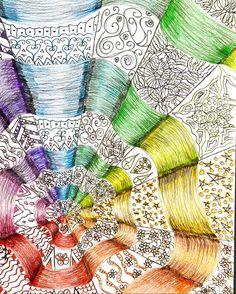 Op art tangle colorwheel  7th