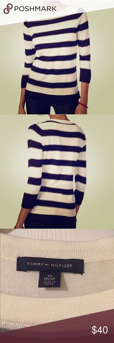 Tommy Hilfiger striped sweater Tommy Hilfiger crew neck, pullover, striped sweater. Sleeves are three-quarter. Hits right at hips. Fabric is acrylic. Tommy Hilfiger Sweaters Cowl & Turtlenecks