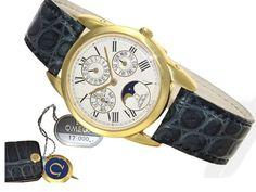 """Armbanduhr: extrem seltene Omega Louis Brandt """"Ewiger Kalender mit Mondphase"""", vermutlich ungetragen"""