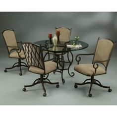 Atrium Bronze Finish Steel with Tan Suede Caster Chair