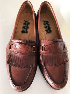 COLE HAAN Genuine American Handsewn Men's Brown Leather Loafer Shoes Size 9.5D #ColeHaan #LoafersSlipOns