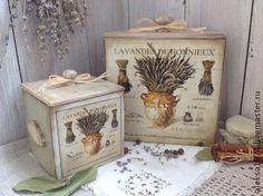 "Короба для хранения "" Лаванда Прованса "" - оливковый,Декупаж,короб для хранения"