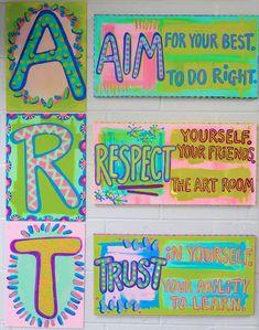 Cassie Stephens: 22 Fun Projects to Rainbow-ize Your Art Room! Art Room Rules, Art Rules, Room Art, Art Class Rules, Art Classroom Decor, Art Classroom Management, Class Management, Classroom Ideas, Classroom Organization