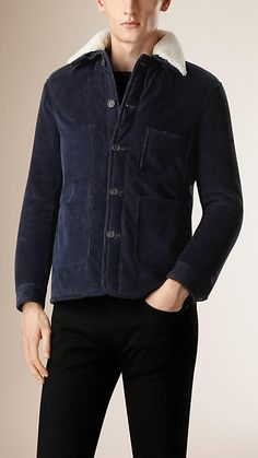 Burberry Ink blue Shearling-Lined Corduroy Utility Jacket - A utility jacket in textured corduroy with a detachable shearling collar.  Cut in a slim fit, the design is lined with shearling.  Discover the men's outerwear collection at Burberry.com