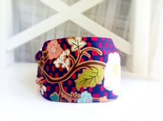 Bold Floral Headband gifts for women geometric hair band wide fabric headbands retro hair accessories  Indie fabric blue purple bright