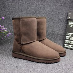 (53.41$)  Buy here - http://ai1bg.worlditems.win/all/product.php?id=32751288109 - ANTFAMILY Natural Fur Snow Boots Women Winter Genuine Leather Mid Calf Boots Warm Australia Sheepskin Classic Fashion Snow Boots