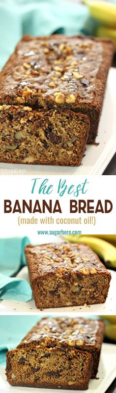 This Coconut Oil Banana Bread is perfect! It's moist, fragrant, with a great texture, big banana flavor, a hint of cinnamon, and lots of melty chocolate chunks!   From SugarHero.com