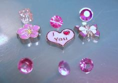 Pink and Purple Floating Charm Set-Pink/Purple Butterfly Floating Charm-Pink Flower Floating Charm-Pink heart Floating Charm-Memory Locket