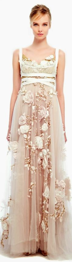 Marchesa Spring Summer 2014 >> Silk Ribbon Rose Gown - love the dress but the ribbon ugh looks like masking tape! Pretty Dresses, Women's Dresses, Wedding Dresses, Regency Wedding Dress, Marchesa Wedding Dress, Marchesa Bridal, Bridesmaid Gowns, Club Dresses, Long Dresses