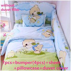 Promotion! 6/7PCS Crib Baby Bedding Set Boy Animal Design Baby Bedding Set Cotton Baby Newborn,120*60/120*70cm