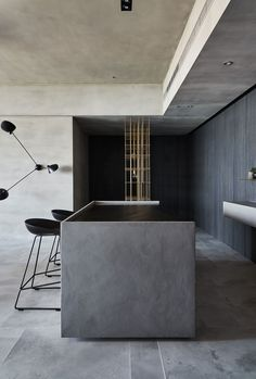 Concrete, clay and dark blue wallpaper line the walls and ceilings of this apartment in Taipei, Taiwan, designed by Wei Yi International Design Associates. Dark Blue Wallpaper, Blue Wallpapers, Interior Concept, Interior Design, Ocean Pictures, Taipei Taiwan, One Bedroom Apartment, Model Homes, Home Improvement Projects