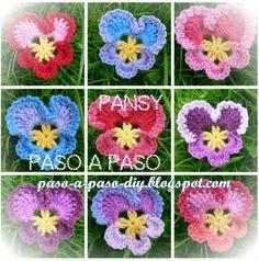 Aprende a tejer estas hermosas flores conocidas como Pansy y también Pensamientos con ganchillo pas...