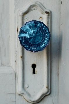 blue glass doorknob