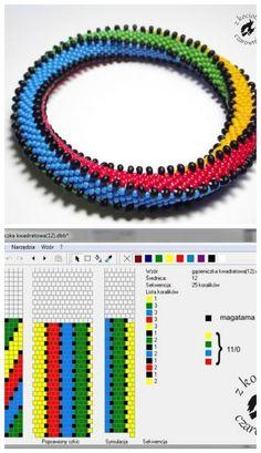 12 beads around 4 colors + magatama Love this! Bead Crochet Patterns, Bead Crochet Rope, Peyote Patterns, Loom Patterns, Beading Patterns, Beaded Crochet, Crochet Beaded Bracelets, Beaded Necklace Patterns, Bracelet Patterns