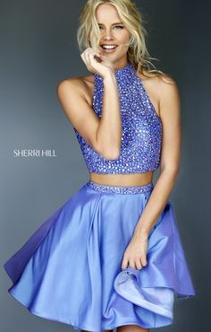 Sherri Hill 11317 Periwinkle Short Two Piece Homecoming Dress and other apparel, accessories and trends. Browse and shop related looks. Sherri Hill Homecoming Dresses, Two Piece Homecoming Dress, Prom Dresses Two Piece, Cheap Homecoming Dresses, Prom Dresses 2017, Dressy Dresses, Sexy Dresses, Beautiful Dresses, Dance Dresses