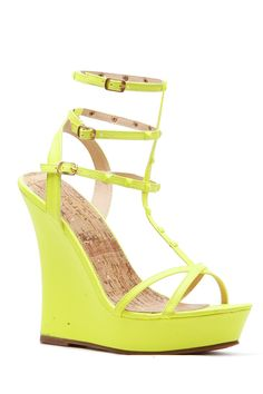 Neon Yellow Faux Leather Studded Ankle Strap Wedges @ Cicihot Wedges Shoes Store:Wedge Shoes,Wedge Boots,Wedge Heels,Wedge Sandals,Dress Shoes,Summer Shoes,Spring Shoes,Prom Shoes,Women's Wedge Shoes,Wedge Platforms Shoes,floral wedges