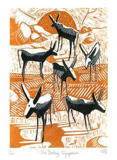 """The Donkey Symposium"" 2-colour linocut print by James Green. http://folksy.com/shops/jamesgreenprintworks Tags: Linocut, Cut, Print, Linoleum, Lino, Carving, Block, Woodcut, Helen Elstone, Landscape, Donkey, Animal, Sky"