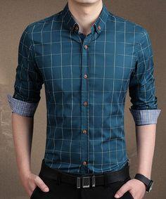 Stylish Shirt Collar Color Block Checked Splicing Slimming Long Sleeve Cotton…