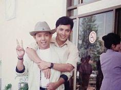 Khem Veasna with his friend.