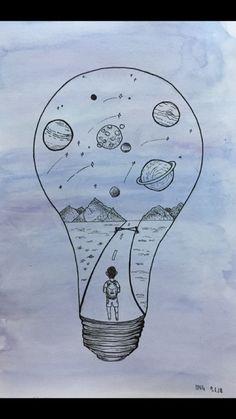 #drawing #planet #lightbulb
