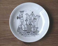 mini plate   No.RU-mptr02  SOLD OUT  decoration: Raija Uosikkinen ライヤ ウオシッキネン   maker: ARABIA (finland) >>   size: φ9.5cm  porcelain