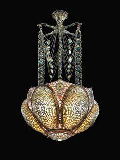 Early chandelier by Tiffany 1895
