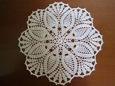 Crochet doily white pineapple doilies round lace by kroshetmania