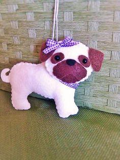 Felt Pug Felt Dog Pug Plush Felt Pug by BeckyLynnCreations on Etsy