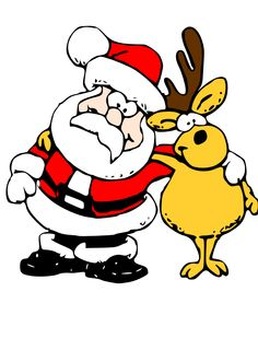 Santa and Reindeer hugging cute #free #Christmas #clipart