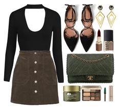 """""""choker bodysuit"""" by luvsassyselfie ❤ liked on Polyvore featuring Zara, Chanel, Sarah Magid, Origins, NARS Cosmetics, Too Faced Cosmetics, Fashion Fair and By Terry"""