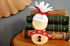 DIY Wood Slice Snowman #Christmas #crafts