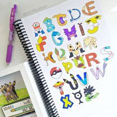 """245 Me gusta, 30 comentarios - Pilar 🌿 studyblog (@study.pilar) en Instagram: """"Hola a todos ✌️ el día de hoy les traigo el abecedario estilo Pokémon en Colaboración con…"""" Pokemon, Fonts, Letters, Instagram, One Day, Style, Designer Fonts, Types Of Font Styles, Letter"""