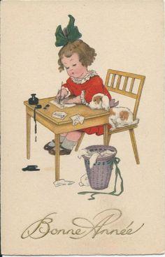 Vintage ansichtkaart Een brief schrijven | Vintage ansichtkaarten | ZomaarVintage