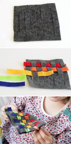 Kid Craft! DIY Rainbow Woven Felt Coasters - HelloNatural.co