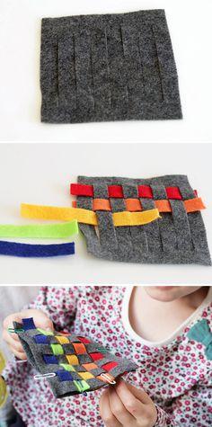 Kid Craft! DIY Rainbow Woven Felt Coasters - HelloNatural.co